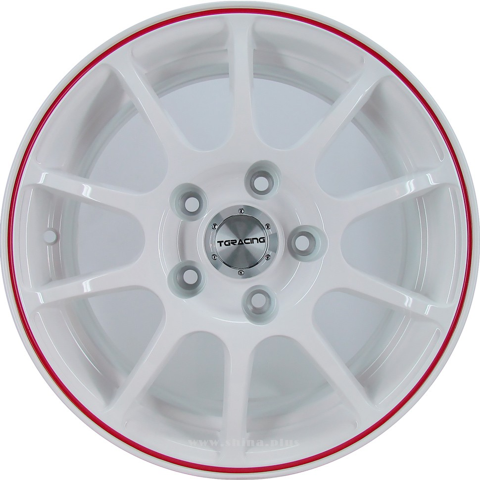 Диск R15 5x114,3 TG Racing (D001) 6,0J ET45 D67,1 White Red Ring